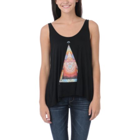 Obey Girls Pyramid Stone Black Heartbreaker Tank Top