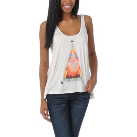 Obey Girls Pyramid Stone Natural Heartbreaker Tank Top