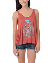 Obey Girls Turquoise Thunder Rust Red Heartbreaker Tank Top