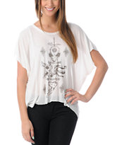 Obey Girls Talisman Natural White Straight Line Tee Shirt