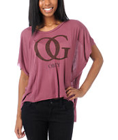 Obey Girls OG Leopard Berry Pink Straight Line Top