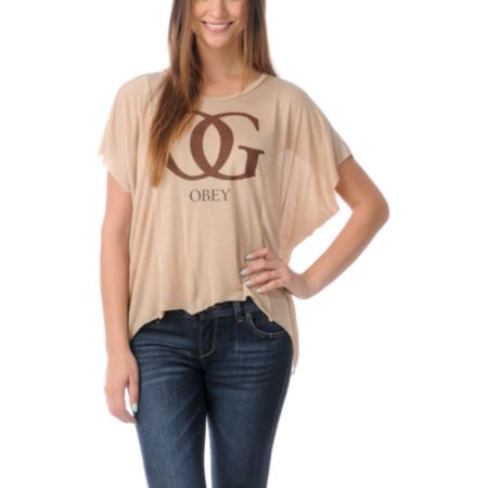 Obey Girls OG Leopard Straight Line Tee Shirt