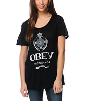 Obey Girls Nada Beau Black Scoop Neck Tee Shirt