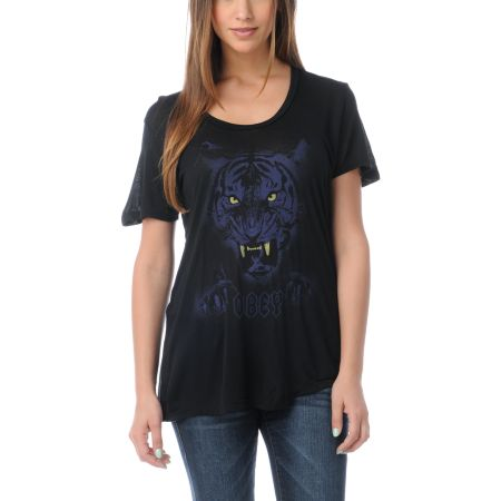 Obey Girls Night Stalker Black Tee Shirt
