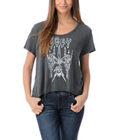 Obey Girls Midnight Burner Charcoal Slub Dolman Top