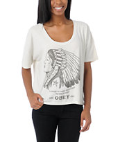 Obey Good Relations To Earth Natural Crop Tee Shirt