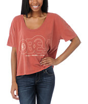 Obey Girls Voices Records Rust Red Vintage Crop Tee Shirt
