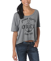 Obey Girls Finest Anchor Hearther Grey Gym Tee Shirt