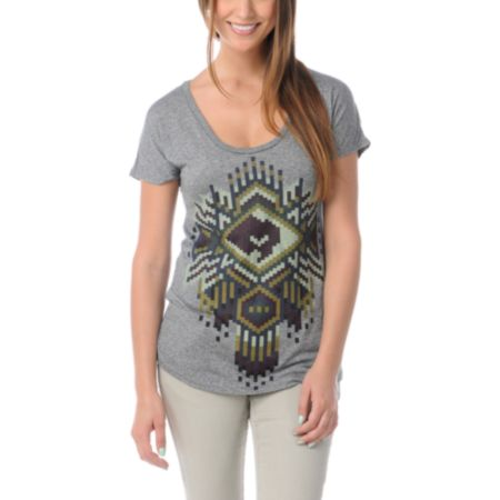 Obey Girls Petote Pattern Grey Mock Twist Tee Shirt