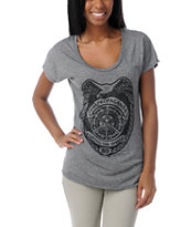 Obey Girls Serving Streets Grey Mock Twist Tee Shirt