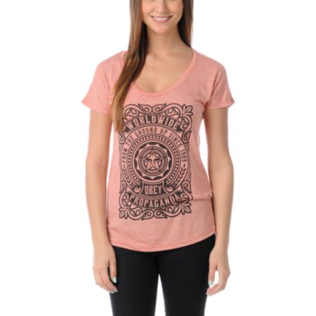 Obey Girls From The Ground Up Red Mock Twist Tee Shirt