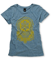 Obey Girls United Art Workers Heather Blue Tee Shirt