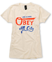 Obey Girls All City Original Ivory White Tee Shirt