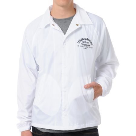 Loser Machine Raceway White Coaches Jacket