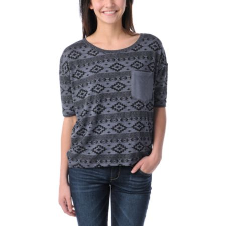 Lira Girls Aztec Print Charcoal Rayon Top