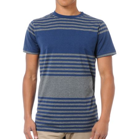 Empyre Mope Blue & Grey Striped Knit Tee Shirt
