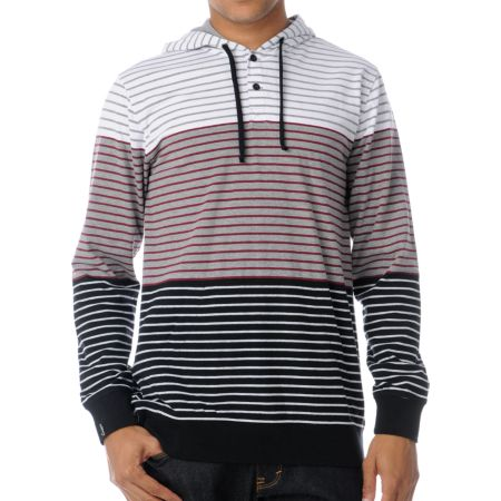 Empyre Pitfall Red Stripe Knit Henley Hoodie