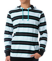 Empyre Vex Black & Turquoise Stripe Hooded Knit Shirt