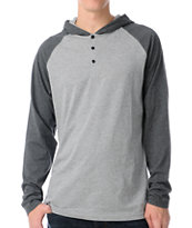 Dravus Defense Grey Hooded Henley Baseball Shirt
