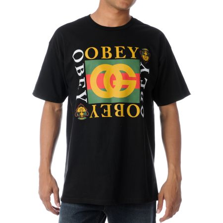 Obey Knockoff Black  Crew Neck Tee Shirt