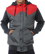 Dravus Plateau Charcoal Grey & Red Vest Hoodie