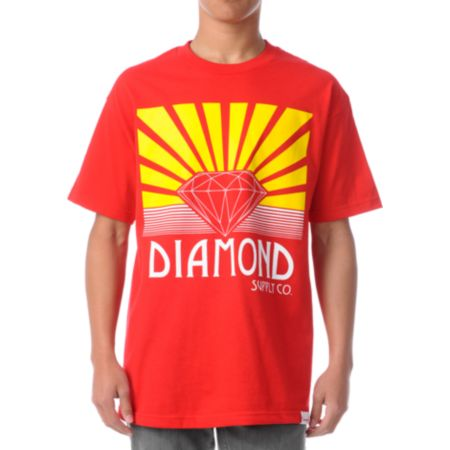 Diamond Supply Co Shining Red Tee Shirt