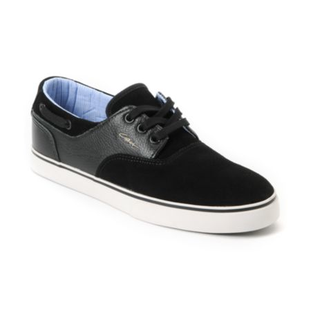 Circa Valeo Black Leather & Suede Skate Shoe