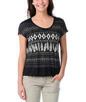 Empyre Girls Black & Cream Hatfield Native Feather Tee Shirt