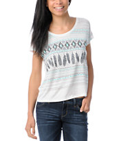 Empyre Girls Cream & Teal Hatfield Native Feather Tee Shirt