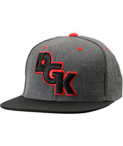 DGK Stagger Charcoal & Black Snapback Hat