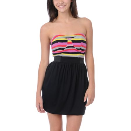 Love, Fire Aurora Black Striped Corset Dress