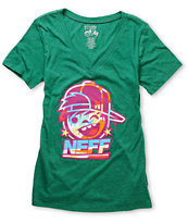 Neff Girls Kenni Drip Heather Green V-Neck Tee Shirt