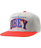 Obey Throwback Heather Grey & Red Snapback Hat