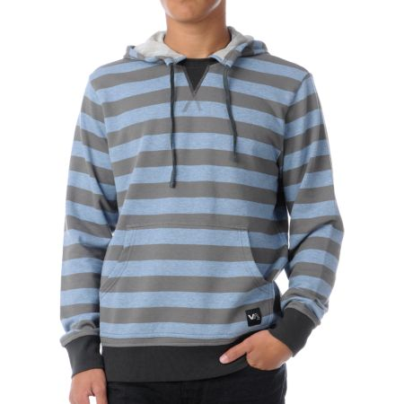 RVCA Faction Grey & Blue Stripe Pullover Hoodie