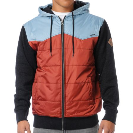 Volcom Cane Red, Blue & Charcoal Fleece Hoodie