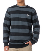 Volcom Eds Black & Grey Striped Crew Neck Sweatshirt