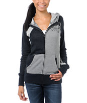 Fox Girls Tiled Black & Grey Zip Up Hoodie