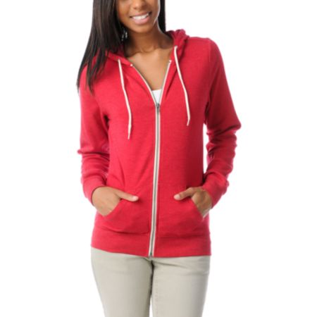 Zine Girls Heather Red Zip Up Hoodie