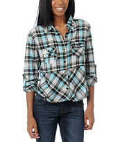 Fox Girls After School White & Blue Plaid Shirt