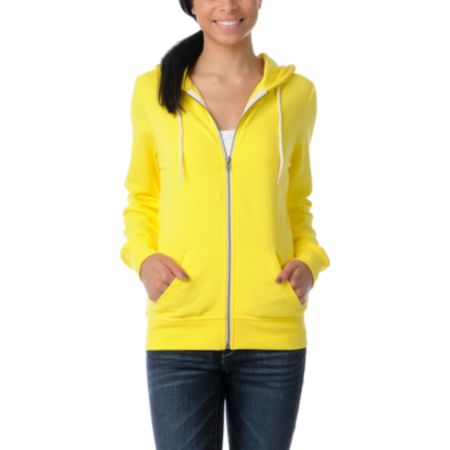 Zine Girls Buttercup Yellow Zip Up Hoodie