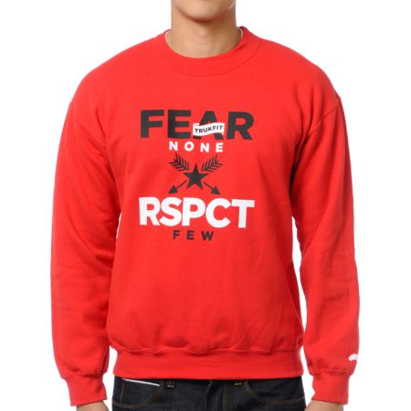 Trukfit Fear None Red Crew Neck Sweatshirt