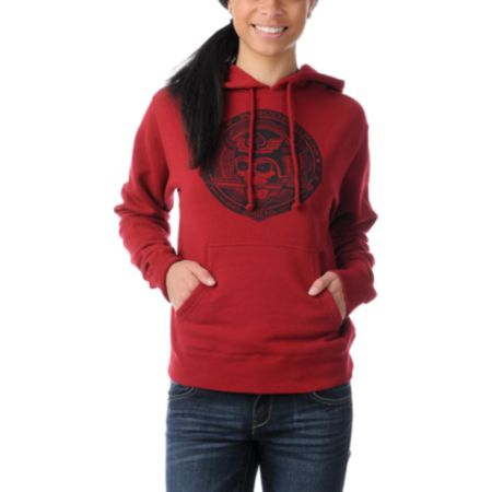 Obey Girls No Sleep Garnet Red Pullover Hoodie