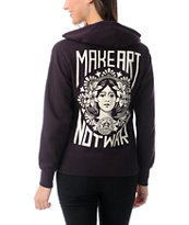 Obey Make Art Not War Blackberry Zip Up Hoodie