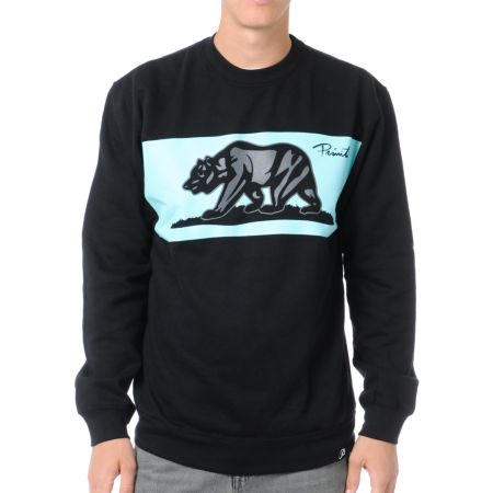 Primitive Bear Black Crew Neck Sweatshirt