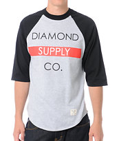 Diamond Supply Bar Logo Black Baseball Tee Shirt