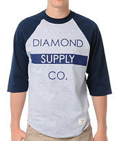 Diamond Supply Bar Logo Navy Baseball Tee Shirt