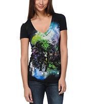 Bitter Sweet Stellar Oak Black V-Neck Tee Shirt
