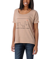 Stussy x Love+Made Camel Slouchy Tee Shirt