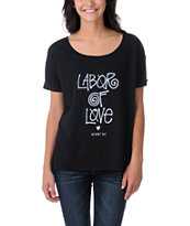 Stussy x Love+Made Labor Of Love Black Slouchy Tee Shirt