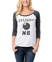Stussy Girls No. 8 White & Grey Baseball Tee Shirt